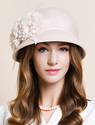 Wool Chiffon Feather Fascinators Hats Headpiece Classical Feminine Style
