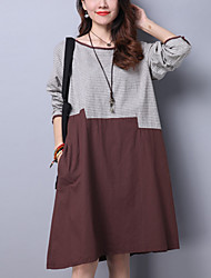 Women's Casual/Daily Street chic Loose Thin Dress Striped Patchwork Knee-length Blue /Brown /Orange Cotton /Linen Spring /Fall