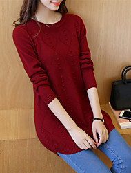 cheap -Women's Daily Casual Solid Round Neck Pullover, Long Sleeves Winter Fall Cotton