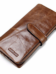 cheap -Men Bags Cowhide Checkbook Wallet for Shopping Casual Sports Outdoor Office & Career All Seasons Black Coffee Brown