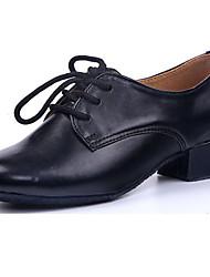 "cheap -Men's Kids' Dance Shoes PU Sneaker Heel Practice Splicing Chunky Heel Black Under 1"" Customizable"