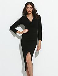 cheap -Women's Daily Simple Bodycon DressSolid V Neck Knee-length Long Sleeve Black / Gray Cotton Fall