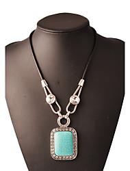 cheap -Women's Square Bohemian Fashion Punk Birthstones Pendant Necklace Rhinestone Turquoise Alloy Pendant Necklace , Christmas Gifts Party