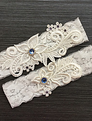 cheap -Lace Wedding Garter with Rhinestone Lace Wedding AccessoriesClassic Elegant Style