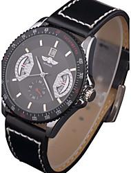 baratos -Homens Relógio Esportivo / Relógio Militar / relógio mecânico Calendário / Impermeável Couro Legitimo Banda Casual / Fashion / Relógio Elegante Cores Múltiplas / Automático - da corda automáticamente