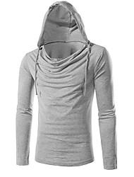T-shirt Da uomo Casual Sportivo Attivo Primavera Autunno,Tinta unita Con cappuccio Cotone Blu Rosso Bianco Marrone Grigio Manica lunga