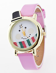 Women's Kids' Wrist watch Quartz / PU Band Cartoon Casual Black White Red Brown Green Pink Rose
