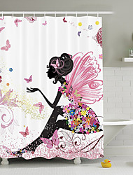 cheap -Shower Curtains Neoclassical Polyester Cartoon Machine Made