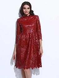 Žene Korice Haljina - Drapirano Print Uski okrugli izrez