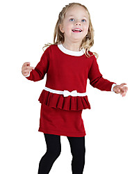 cheap -Girl's Daily Going out Color Block Dress, Cotton Winter Spring Fall Long Sleeves Bow Ruffle Black Red
