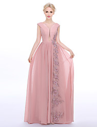 Sheath / Column Jewel Neck Floor Length Chiffon Charmeuse Formal Evening Dress with Beading Appliques by A-Fu