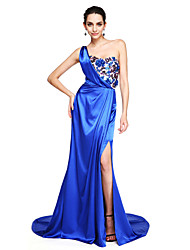 cheap -A-Line One Shoulder Court Train Stretch Satin Formal Evening Dress with Appliques Split Front Sequins Pleats by TS Couture®