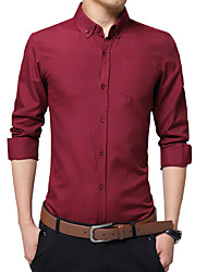 Men's Plus Size Formal Work Simple Cute Street chic Spring Fall Shirt,Solid Shirt Collar Long SleeveBlue Pink Red White Black Yellow