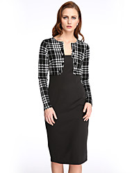 Women's Vintage Fashion New Patchwork Round Neck Long Sleeve Bodycon Dress
