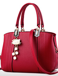 cheap -Women's Bags PU Tote Zipper Imitation Pearl Crystal/ Rhinestone Flower for Formal Office & Career Outdoor All Seasons Gray Fuchsia Blue