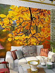 JAMMORY Art DecoWallpaper For Home Wall Covering Canvas Adhesive required Mural Yellow Trees Landscape XL XXL XXXL