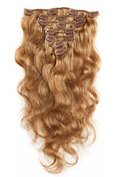 7A 100% Virgin Human Hair Extensions Clip In Remy Hair Body Wave Full Head Strawberry Blonde