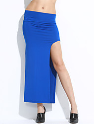 Women's Asymmetrical Solid Khaki/Blue/Wine Skirt,Sexy High Slit Elastic Waist Asymmetrical