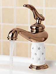 billige -Moderne Centersat Udbredt Keramik Ventil Et Hul Enkelt håndtag Et Hul Krom , Håndvasken vandhane