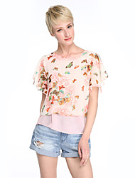cheap -Women's Going out Plus Size Casual Street chic Blouse,Floral Round Neck Short Sleeves Polyester Thin