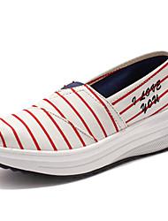 Damen-Loafers & Slip-Ons-Outddor Lässig Sportlich-Leinwand-KeilabsatzKaffee Rot