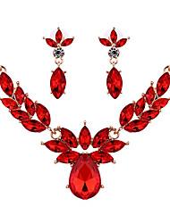 preiswerte -Damen Kristall Krystall Schmuck-Set 1 Paar Ohrringe Halsketten - Rot Champagner Für Hochzeit Party