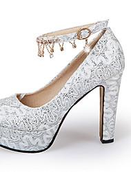Da donna-Tacchi-Matrimonio Casual Serata e festaQuadrato Heel di blocco-Lustrini-Oro Bianco Rosso