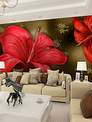 cheap -JAMMORY Art DecoWallpaper For Home Wall Covering Canvas Adhesive required Mural Large Red Lily XL XXL XXXL