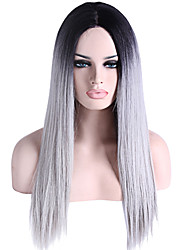 cheap -Synthetic Lace Front Wig Straight Synthetic Hair Natural Hairline Gray Wig Women's Lace Front Wig