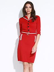 cheap -Women's Work Vintage Street chic Sheath Dress - Color Block Shirt Collar
