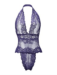cheap -Women's Teddy Lace Lingerie Nightwear Jacquard Rayon Nylon Black Purple