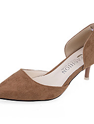 cheap -Women's Heels Fall Winter Comfort PU Casual Low Heel Slip-on Black Red Gray Khaki
