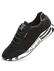 Men's Athletic Shoes Comfort PU Spring Fall Casual Comfort Stitching Lace Lace-up Flat Heel Black Ruby 2in-2 3/4in