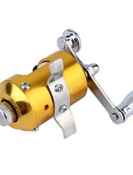 cheap -Mini Pocket Pen Fish Drum High Hard Alloy Outdoor Fishing Reel Drum Wheel Speed Ratio 2.1:1 Golden Dia 2.7cm
