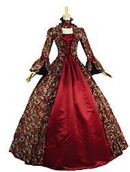 Une Pièce/Robes Gothique Lolita Classique/Traditionnelle Rétro Elégant Victorien Rococo Princesse Cosplay Vêtrements Lolita Rouge Fleur