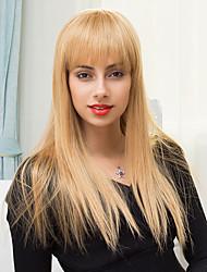 новое прибытие шелковистой блондинка длинные монолитным парики естественные прямые человеческие волосы