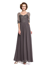 cheap -A-Line V Neck Ankle Length Chiffon / Lace Mother of the Bride Dress with Beading / Draping / Lace by LAN TING BRIDE® / Illusion Sleeve