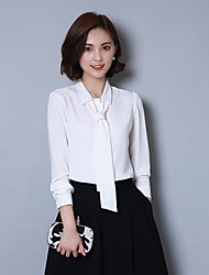Women's High Qaulity Shirt Collar Solid Bow Career OL Work White Plus/Big Size Chiffon Shirt