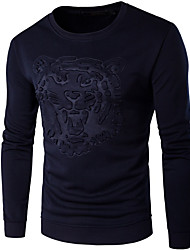 Men's Sports Simple Active Sweatshirt Leopard Round Neck Micro-elastic Cotton Long Sleeve Spring Fall