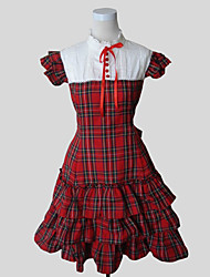 One-Piece/Dress Classic/Traditional Lolita Rococo Cosplay Lolita Dress Plaid Short Sleeves Knee-length Dress For Cotton