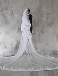 Wedding Veil Two-tier Chapel Veils Cathedral Veils Lace Applique Edge Tulle Lace With Comb
