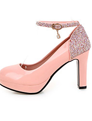 cheap -Women's Shoes Leatherette Glitter Spring Summer Heels Chunky Heel Block Heel Round Toe Sequin for Office & Career Party & Evening White