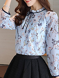 Women's Ruffle Casual/Daily Work Simple Spring Summer Blouse,Solid Stand Long Sleeve Pink White Polyester Thin