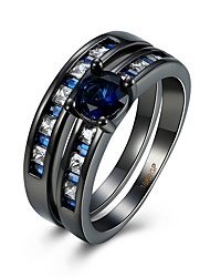 Ring AAA Cubic Zirconia Zircon Copper Titanium Steel Tungsten Steel Simulated Diamond Black Jewelry Daily Casual 1pc