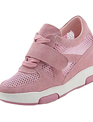 Women's Mesh Sneakers Athletic Shoes Spring Summer PU Casual Wedge Heel Lace-up White Black Blushing Pink