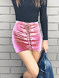 cheap -Women's Lace up Petite A Line Bodycon Solid Skirts,Going out Party/Cocktail Sexy Street chic Mid Rise Mini Drawstring Others Micro-elasticSpring