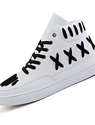 cheap -Men's Sneakers Spring Fall Comfort PU Outdoor Casual Flat Heel Lace-up Black Ivory White