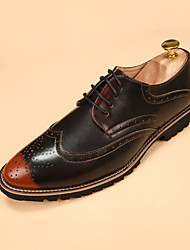 cheap -Men's Oxfords Fall Winter Comfort PU Casual Flat Heel Lace-up Yellow Red Gold