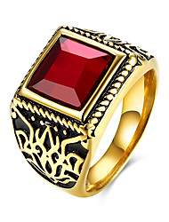 cheap -Men's Ring - Stainless Steel European, Fashion 9 / 10 / 11 Black / Red For Party / Daily / Casual