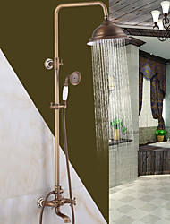 Antique Brass Finish In Wall Bathroom Rainshower Set Shower Panel Rainfall Massage System Faucet With Jets Hand Shower